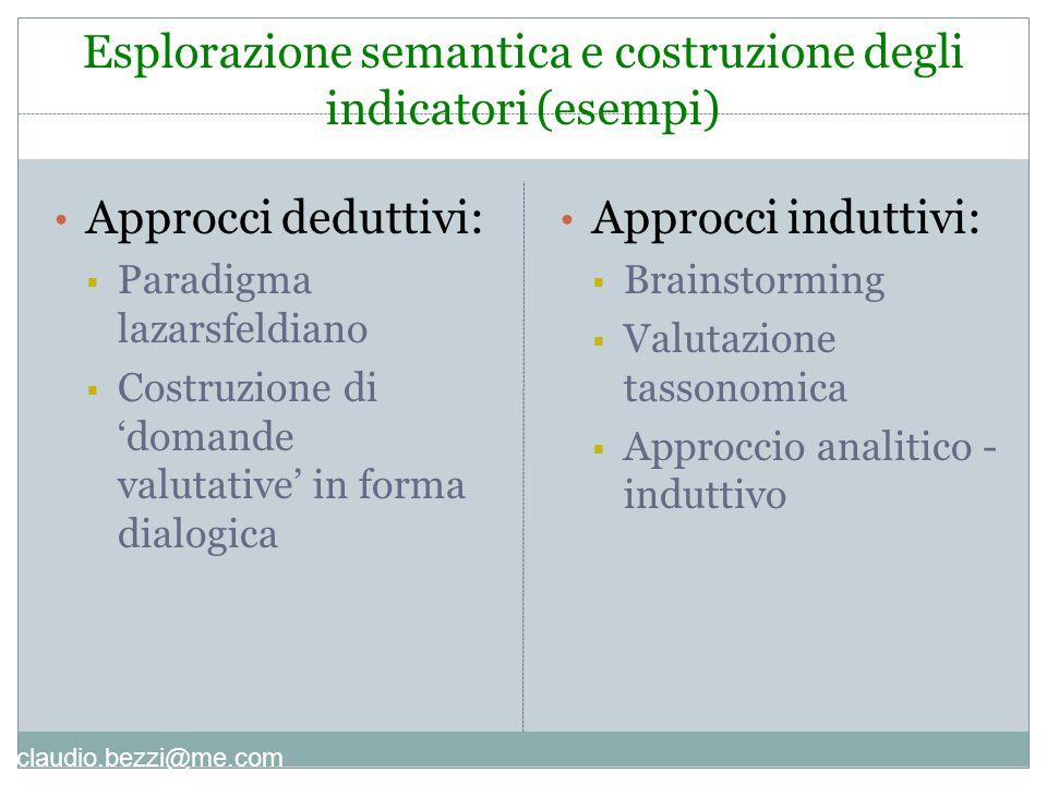 Esplorazione semantica e costruzione degli indicatori (esempi)