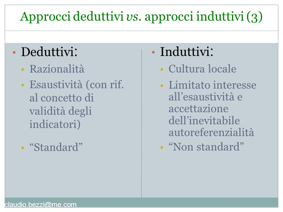 Approcci deduttivi vs. approcci induttivi (3)