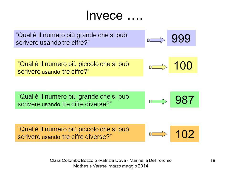 Invece …. Qual è il numero più grande che si può scrivere usando tre cifre 999. 100.
