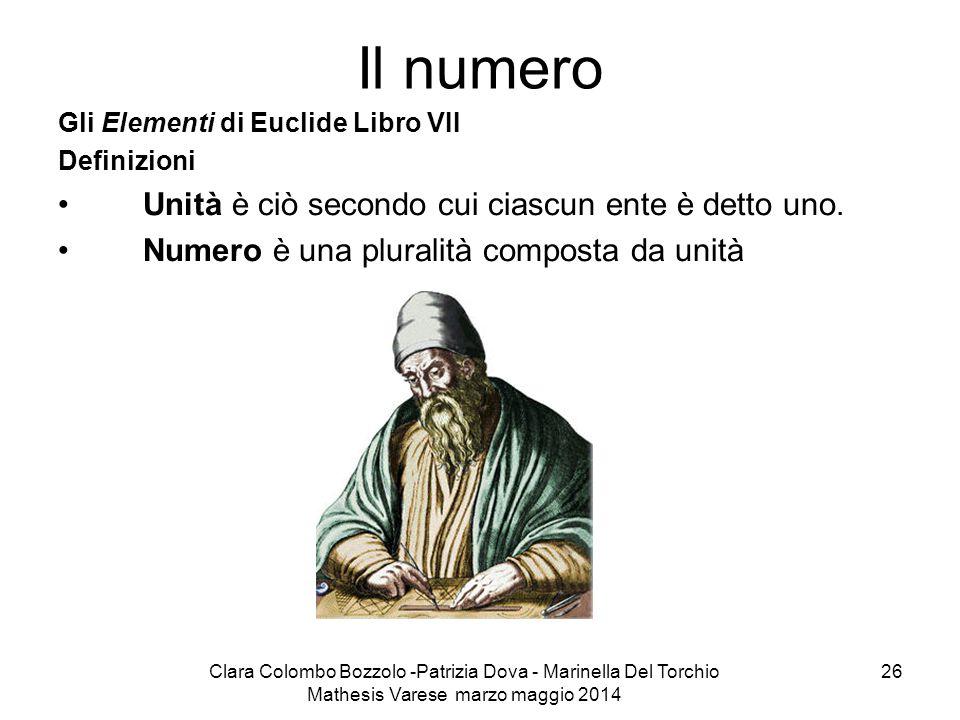 Il numero Unità è ciò secondo cui ciascun ente è detto uno.