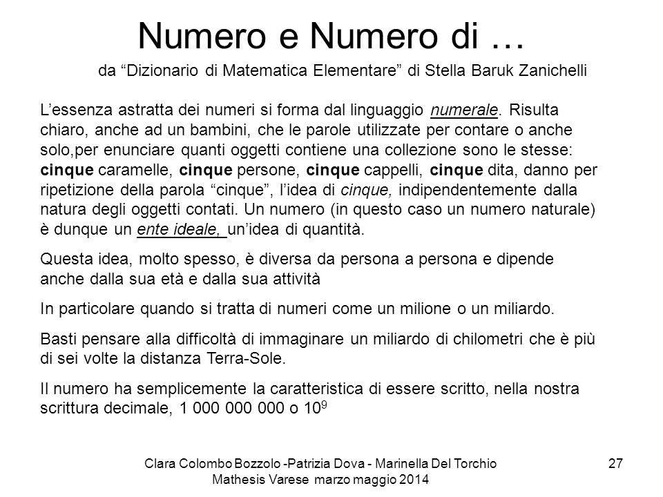 Numero e Numero di … da Dizionario di Matematica Elementare di Stella Baruk Zanichelli.