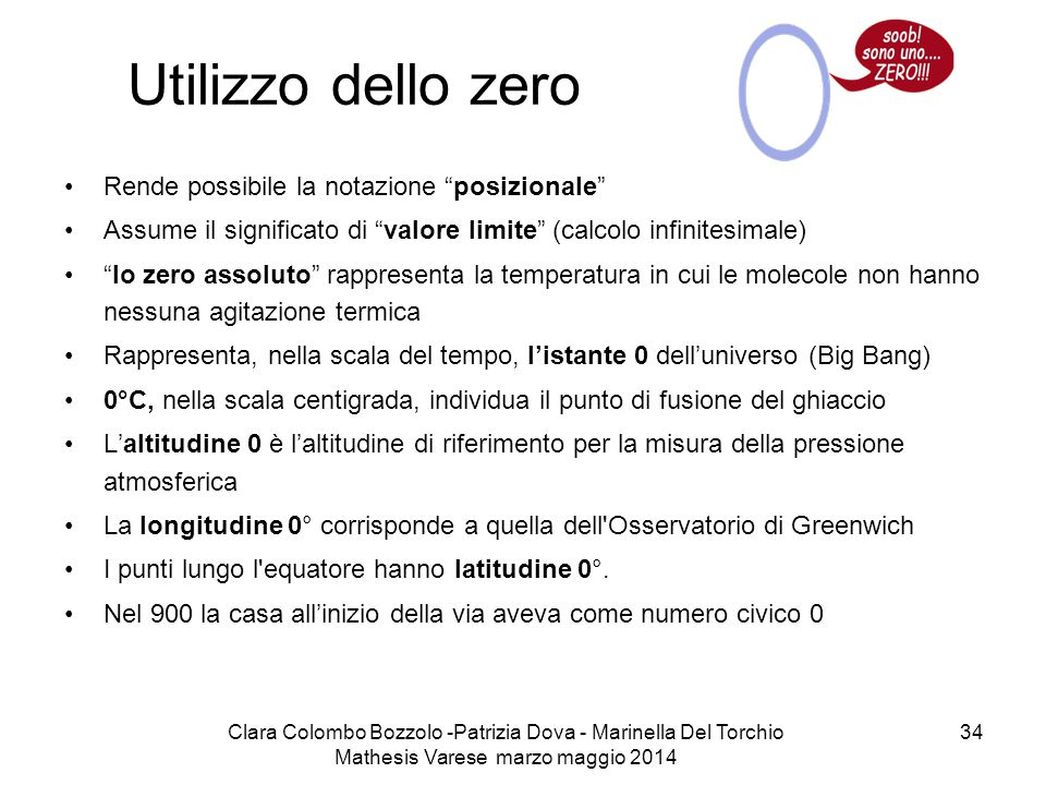 Utilizzo dello zero Rende possibile la notazione posizionale
