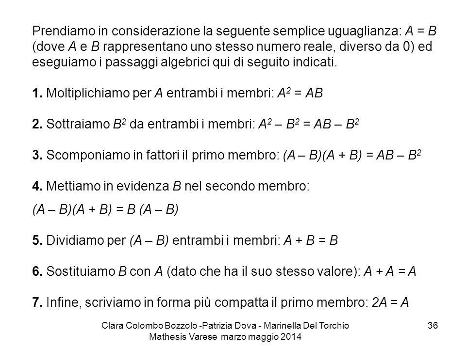 Prendiamo in considerazione la seguente semplice uguaglianza: A = B (dove A e B rappresentano uno stesso numero reale, diverso da 0) ed eseguiamo i passaggi algebrici qui di seguito indicati. 1. Moltiplichiamo per A entrambi i membri: A2 = AB 2. Sottraiamo B2 da entrambi i membri: A2 – B2 = AB – B2 3. Scomponiamo in fattori il primo membro: (A – B)(A + B) = AB – B2 4. Mettiamo in evidenza B nel secondo membro:
