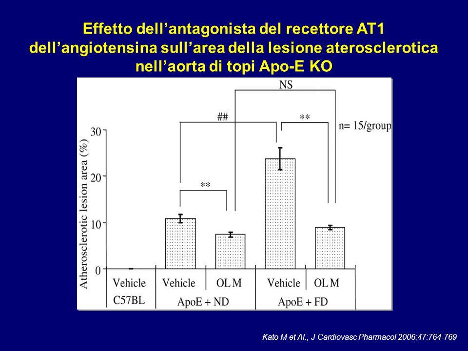 Effetto dell'antagonista del recettore AT1 dell'angiotensina sull'area della lesione aterosclerotica nell'aorta di topi Apo-E KO