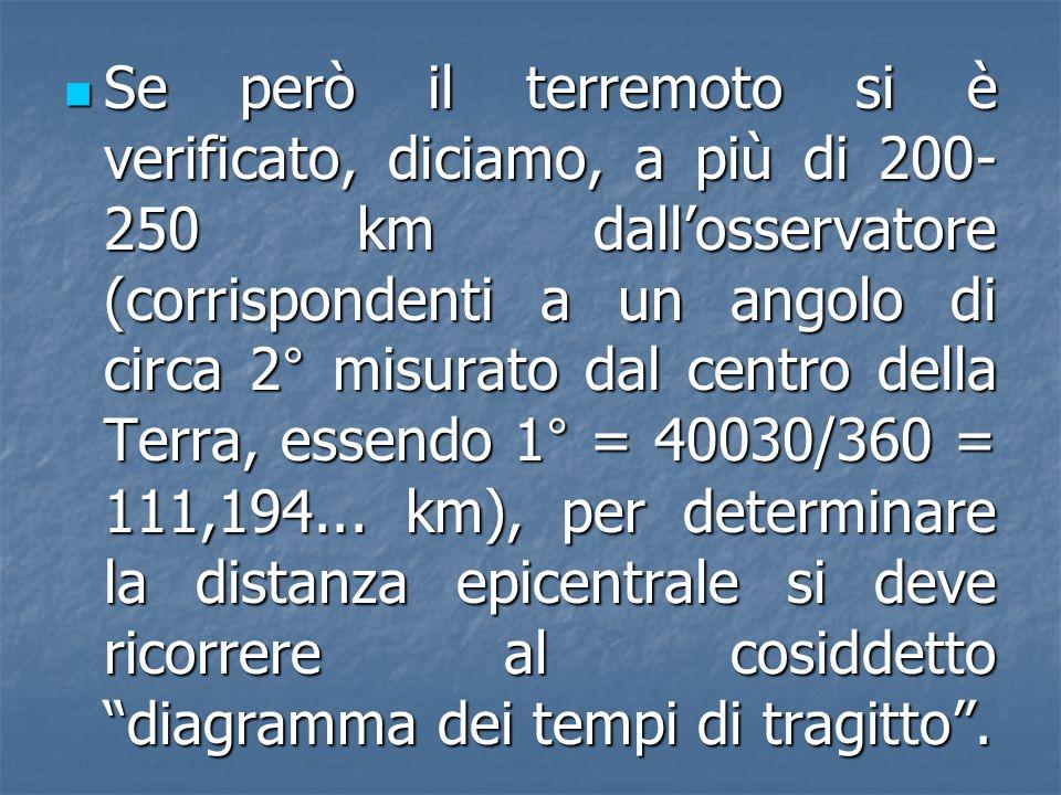 Se però il terremoto si è verificato, diciamo, a più di 200-250 km dall'osservatore (corrispondenti a un angolo di circa 2° misurato dal centro della Terra, essendo 1° = 40030/360 = 111,194...