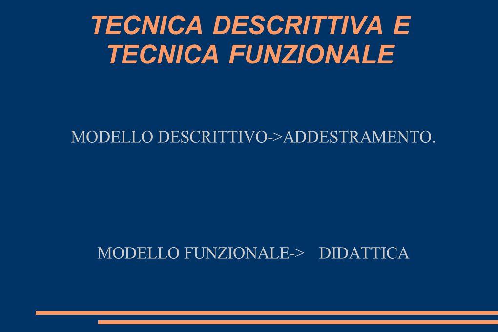 TECNICA DESCRITTIVA E TECNICA FUNZIONALE