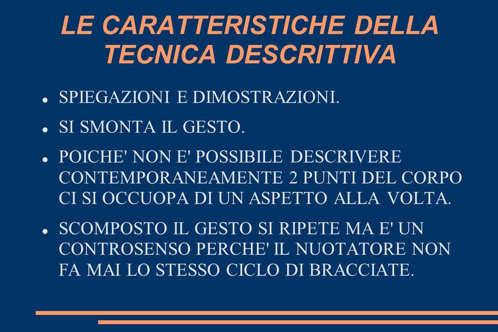 LE CARATTERISTICHE DELLA TECNICA DESCRITTIVA