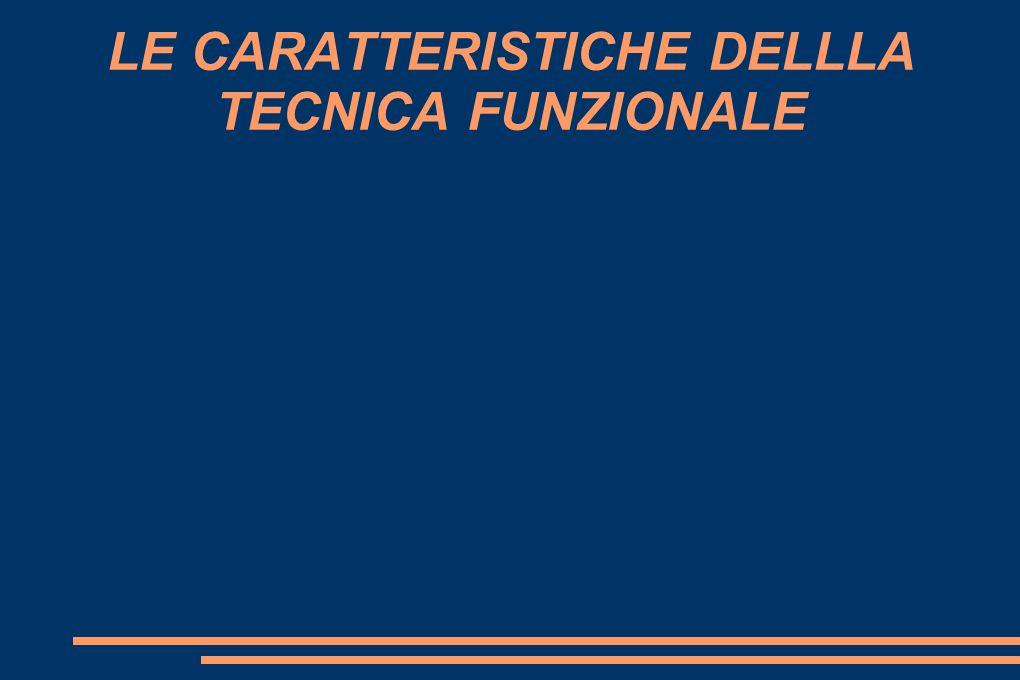 LE CARATTERISTICHE DELLLA TECNICA FUNZIONALE