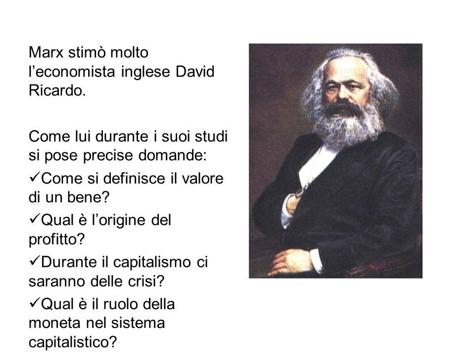 Marx stimò molto l'economista inglese David Ricardo.