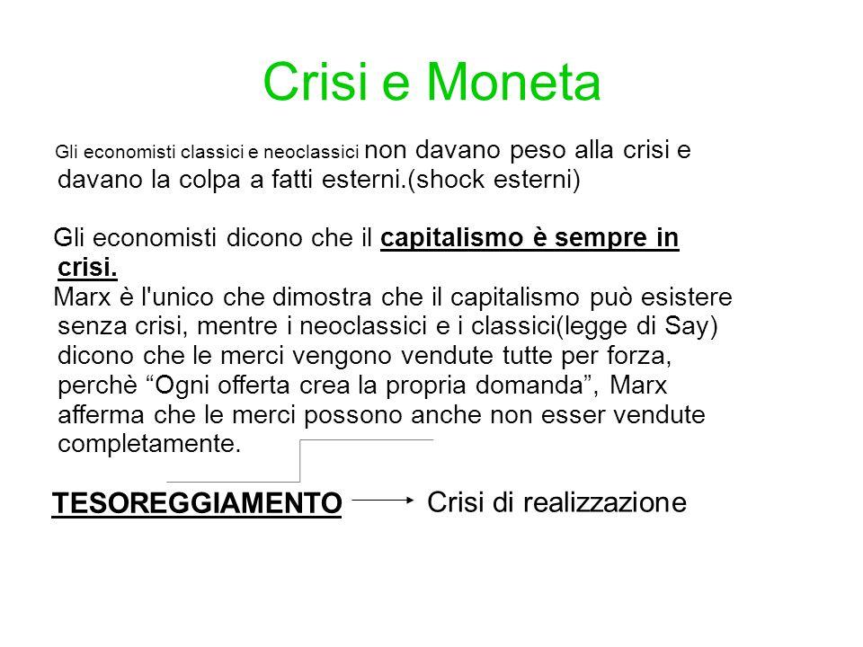 Crisi e Moneta TESOREGGIAMENTO Crisi di realizzazione