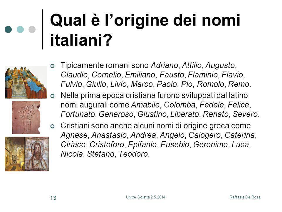 Qual è l'origine dei nomi italiani