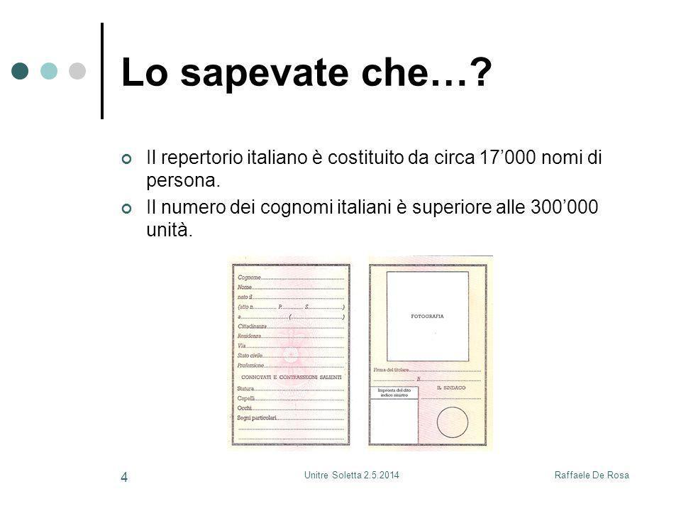Lo sapevate che… Il repertorio italiano è costituito da circa 17'000 nomi di persona.