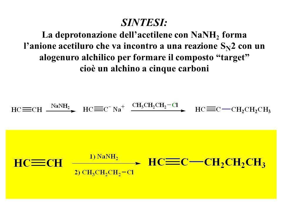 SINTESI: La deprotonazione dell'acetilene con NaNH2 forma