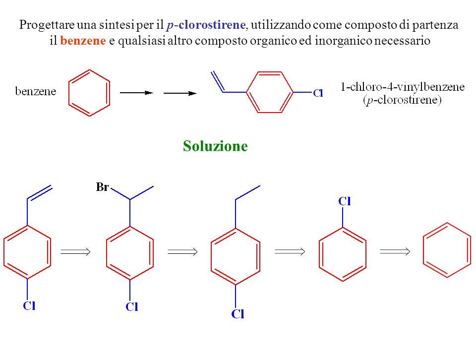 Progettare una sintesi per il p-clorostirene, utilizzando come composto di partenza