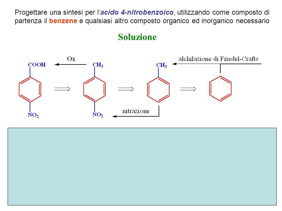 Progettare una sintesi per l'acido 4-nitrobenzoico, utilizzando come composto di