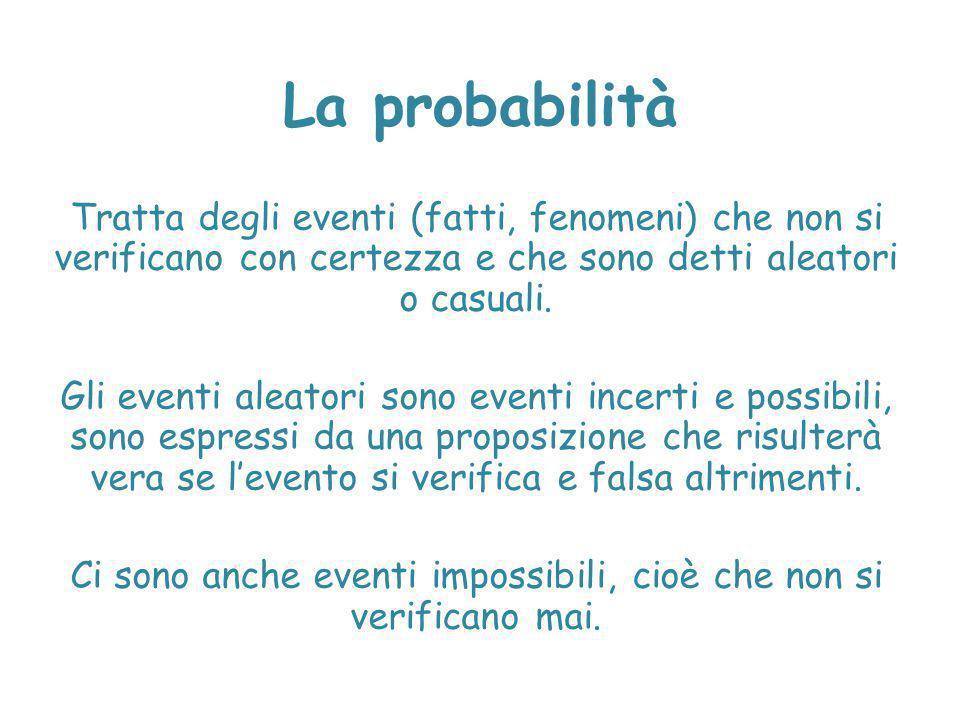Ci sono anche eventi impossibili, cioè che non si verificano mai.