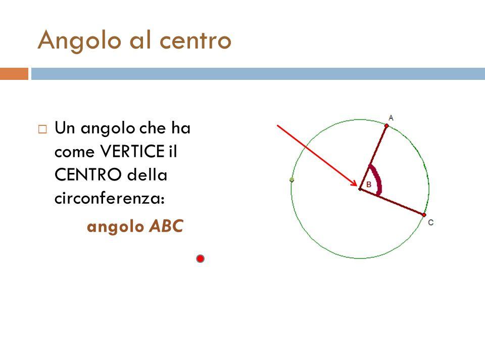 Angolo al centro Un angolo che ha come VERTICE il CENTRO della circonferenza: angolo ABC