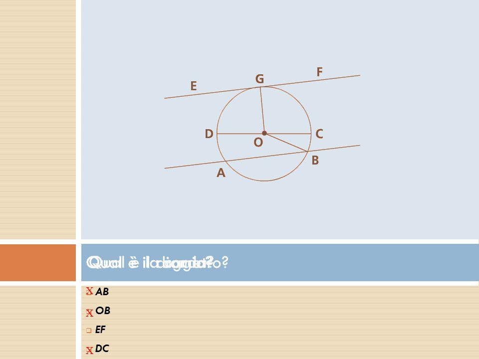Qual è il raggio Qual è il diametro Qual è la corda AB OB EF DC X X