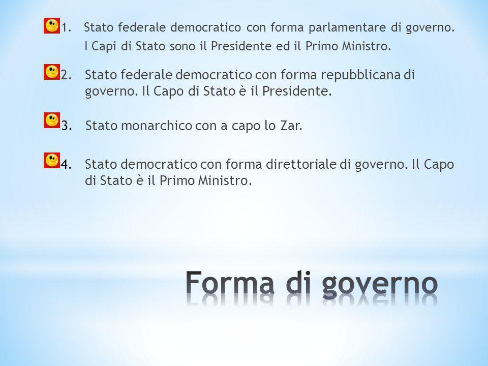 Forma di governo Stato federale democratico con forma repubblicana di