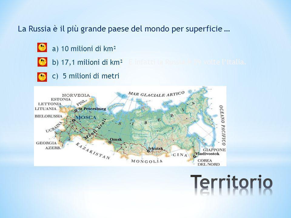 Territorio La Russia è il più grande paese del mondo per superficie …
