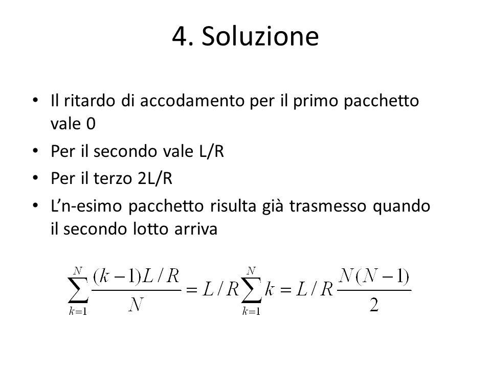 4. Soluzione Il ritardo di accodamento per il primo pacchetto vale 0