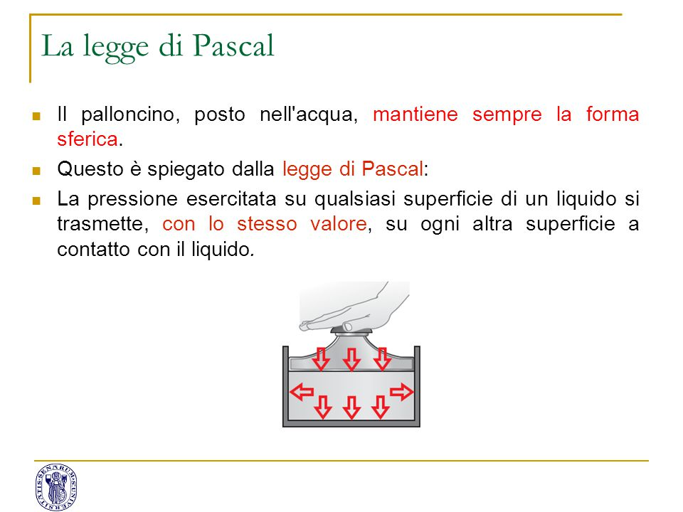 La legge di Pascal Il palloncino, posto nell acqua, mantiene sempre la forma sferica. Questo è spiegato dalla legge di Pascal: