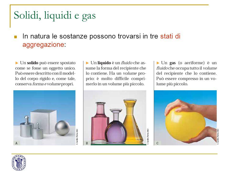 Solidi, liquidi e gas In natura le sostanze possono trovarsi in tre stati di aggregazione: