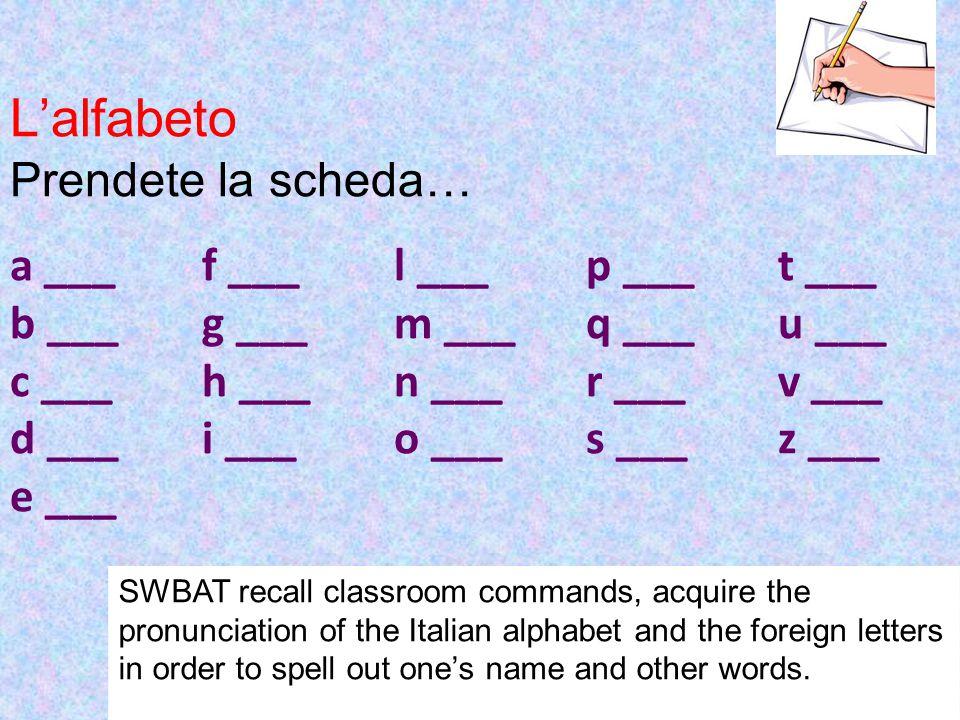 L'alfabeto Prendete la scheda… a ___ f ___ l ___ p ___ t ___