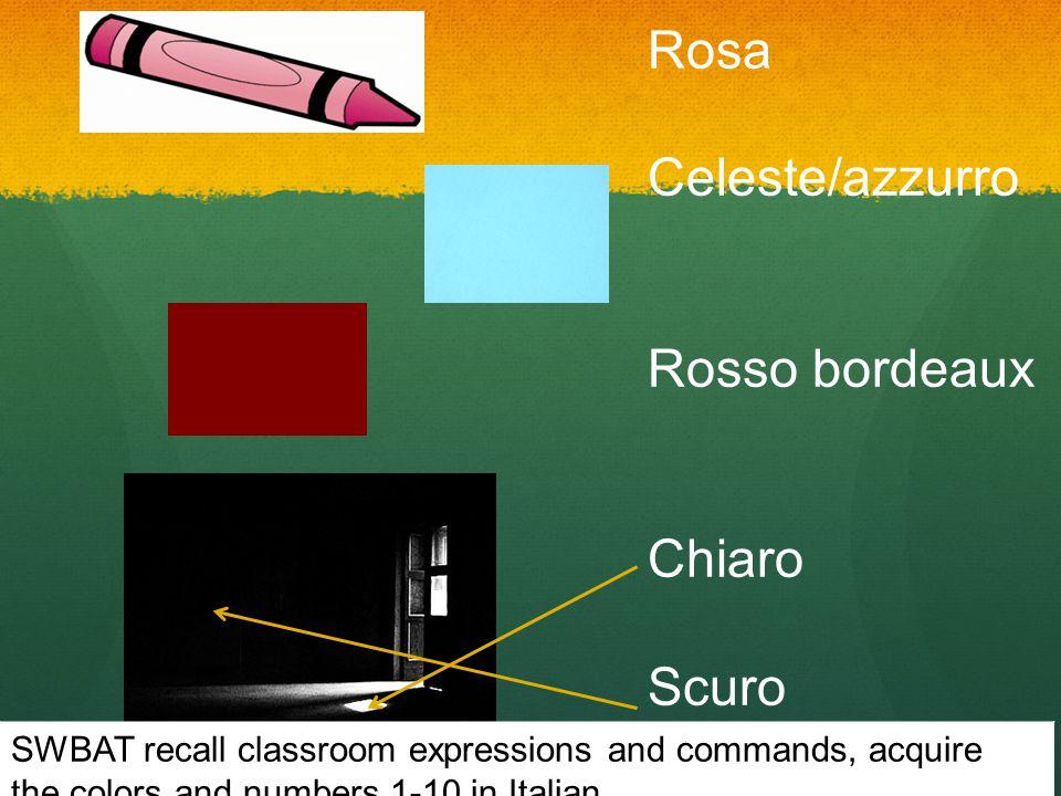 Rosa Celeste/azzurro Rosso bordeaux Chiaro Scuro