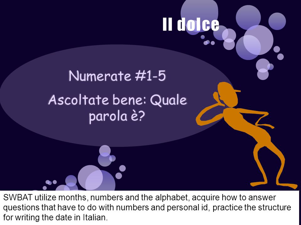 Numerate #1-5 Ascoltate bene: Quale parola è