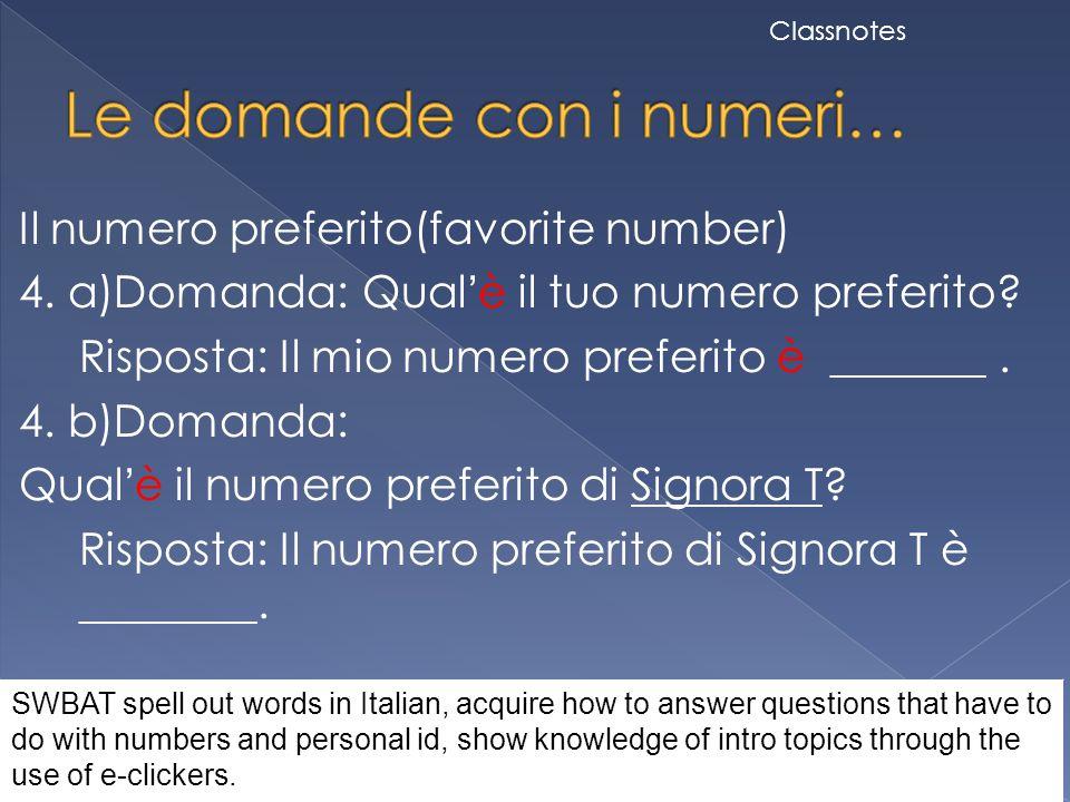 Le domande con i numeri…