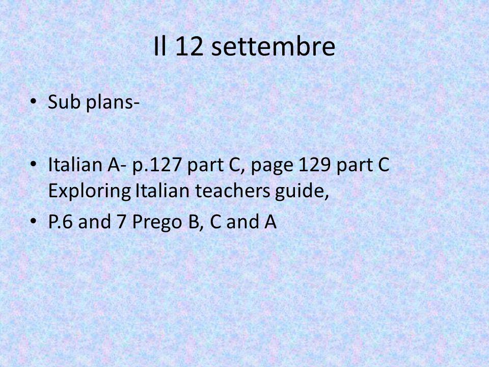 Il 12 settembre Sub plans-