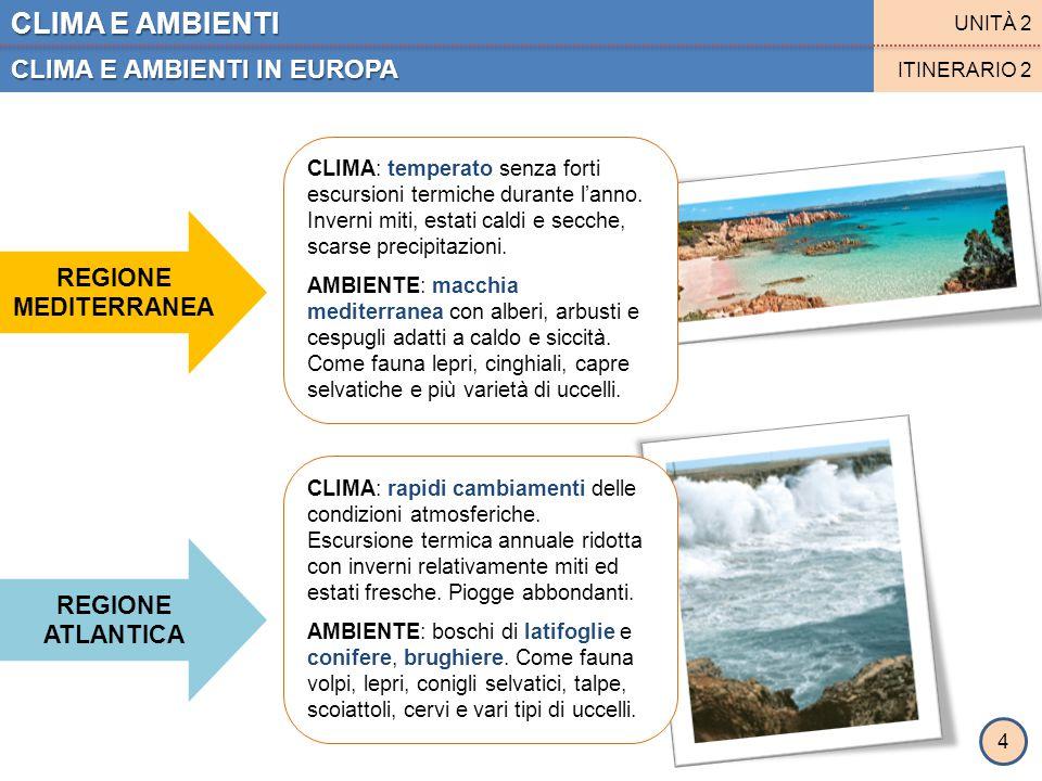 CLIMA E AMBIENTI CLIMA E AMBIENTI IN EUROPA REGIONE MEDITERRANEA