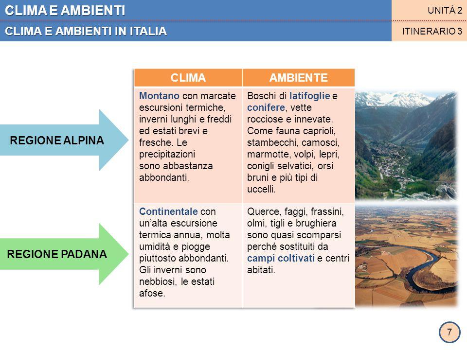 CLIMA E AMBIENTI CLIMA E AMBIENTI IN ITALIA CLIMA AMBIENTE