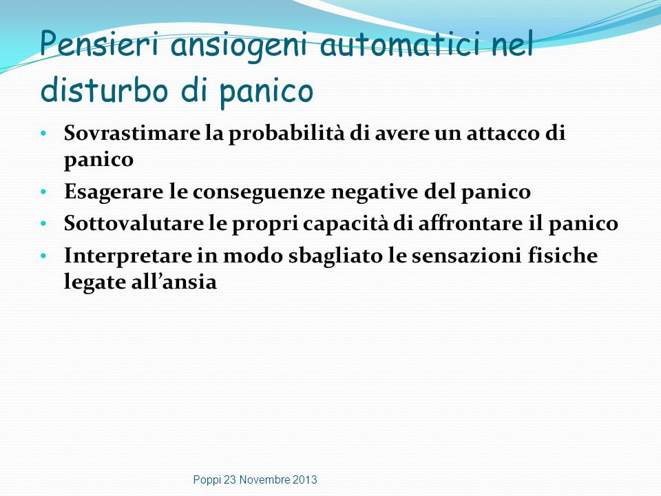 Pensieri ansiogeni automatici nel disturbo di panico