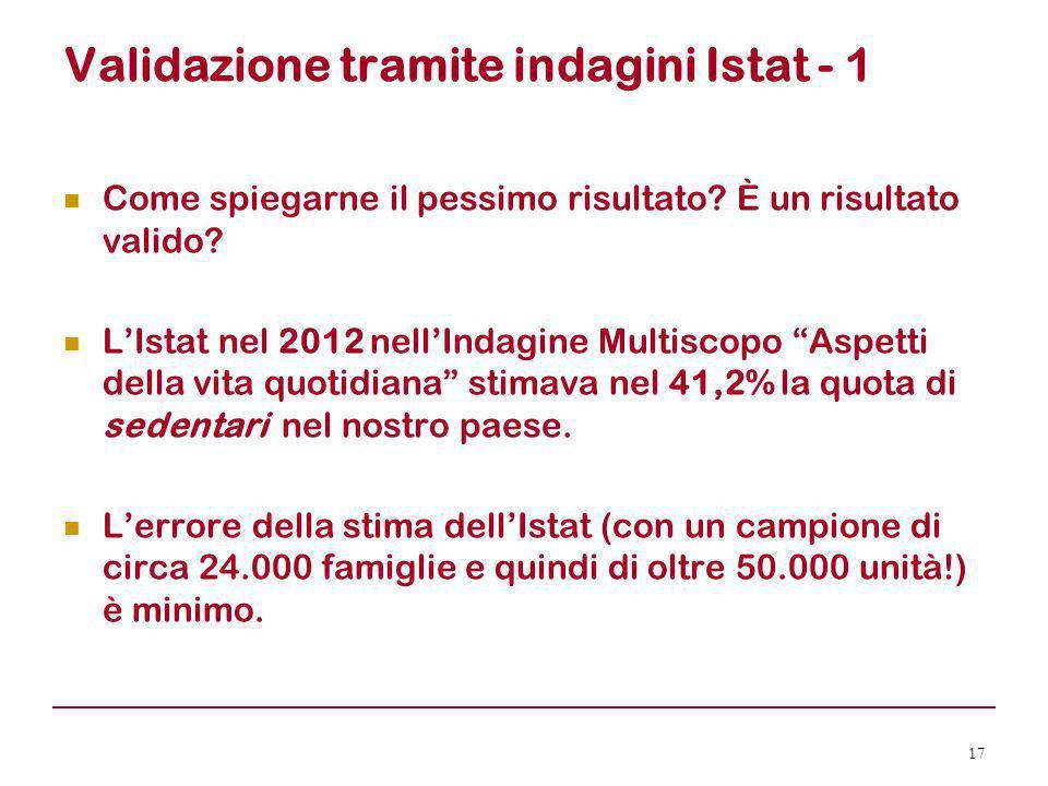 Validazione tramite indagini Istat - 1