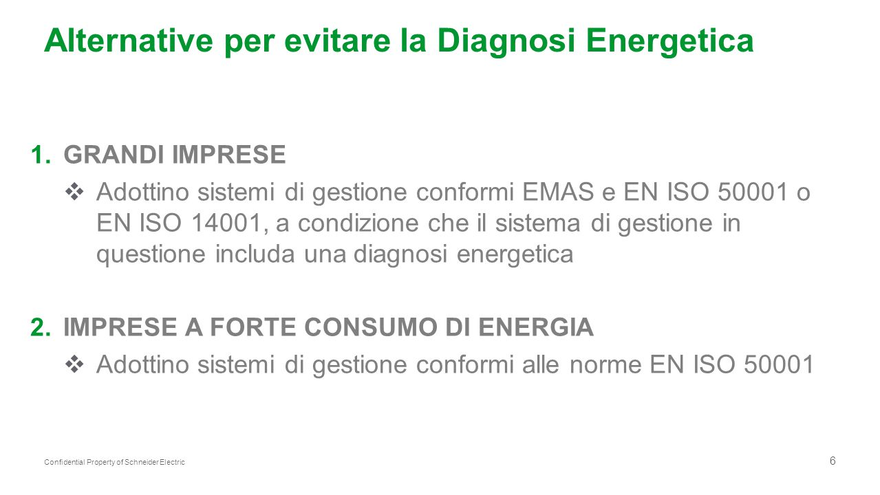 Alternative per evitare la Diagnosi Energetica