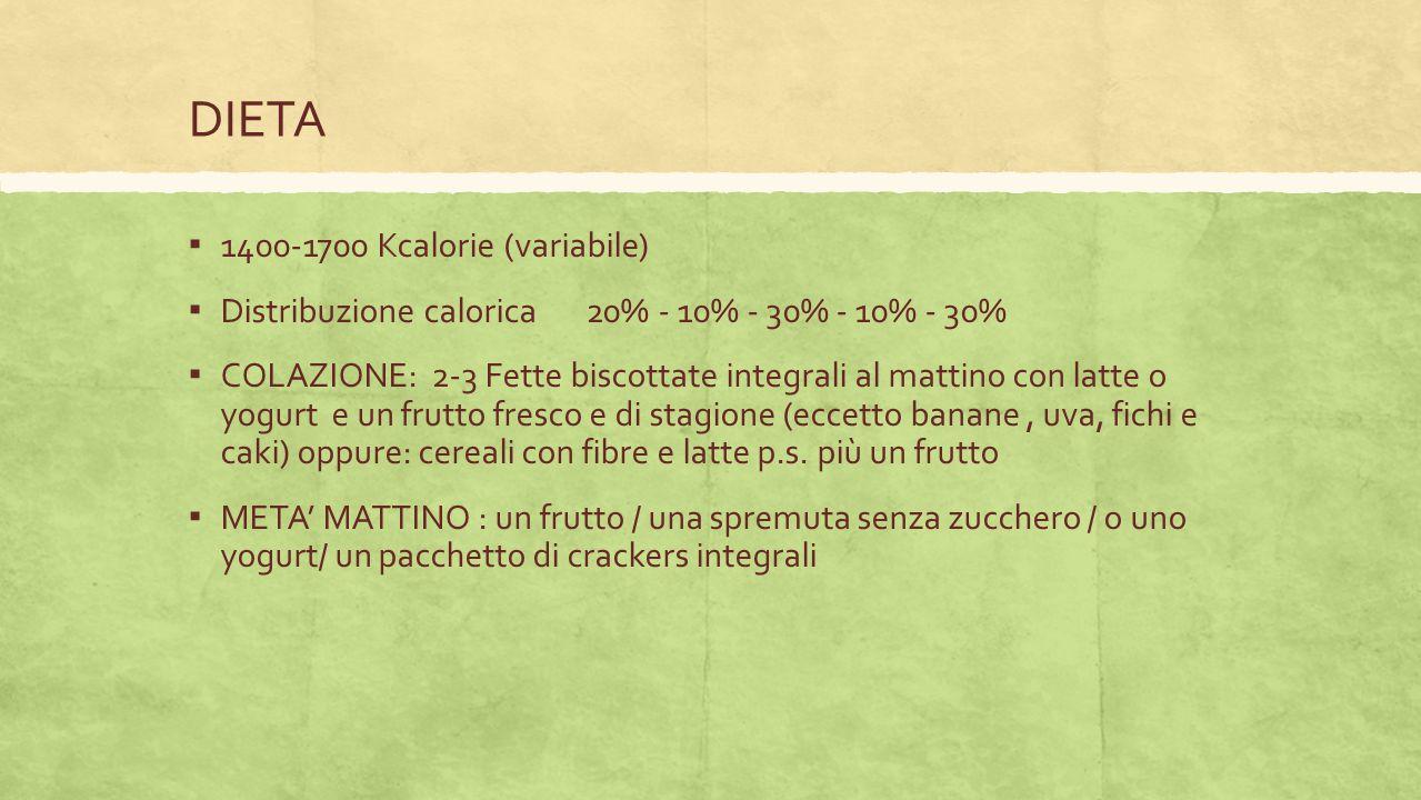 DIETA 1400-1700 Kcalorie (variabile)