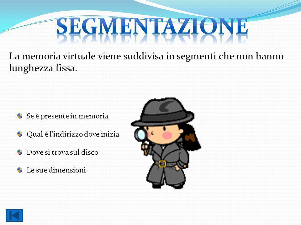 segmentazione La memoria virtuale viene suddivisa in segmenti che non hanno lunghezza fissa. Se è presente in memoria.