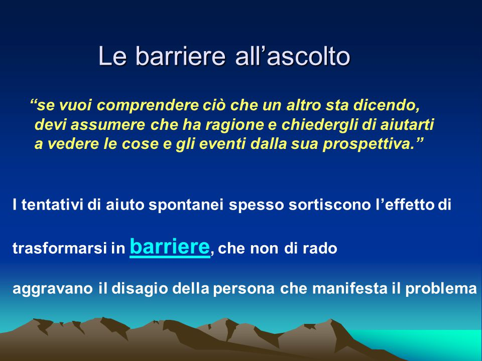 Le barriere all'ascolto