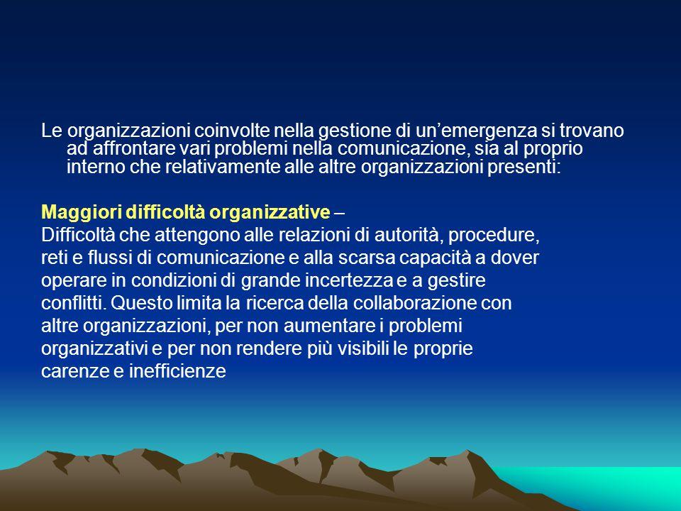 Le organizzazioni coinvolte nella gestione di un'emergenza si trovano ad affrontare vari problemi nella comunicazione, sia al proprio interno che relativamente alle altre organizzazioni presenti: