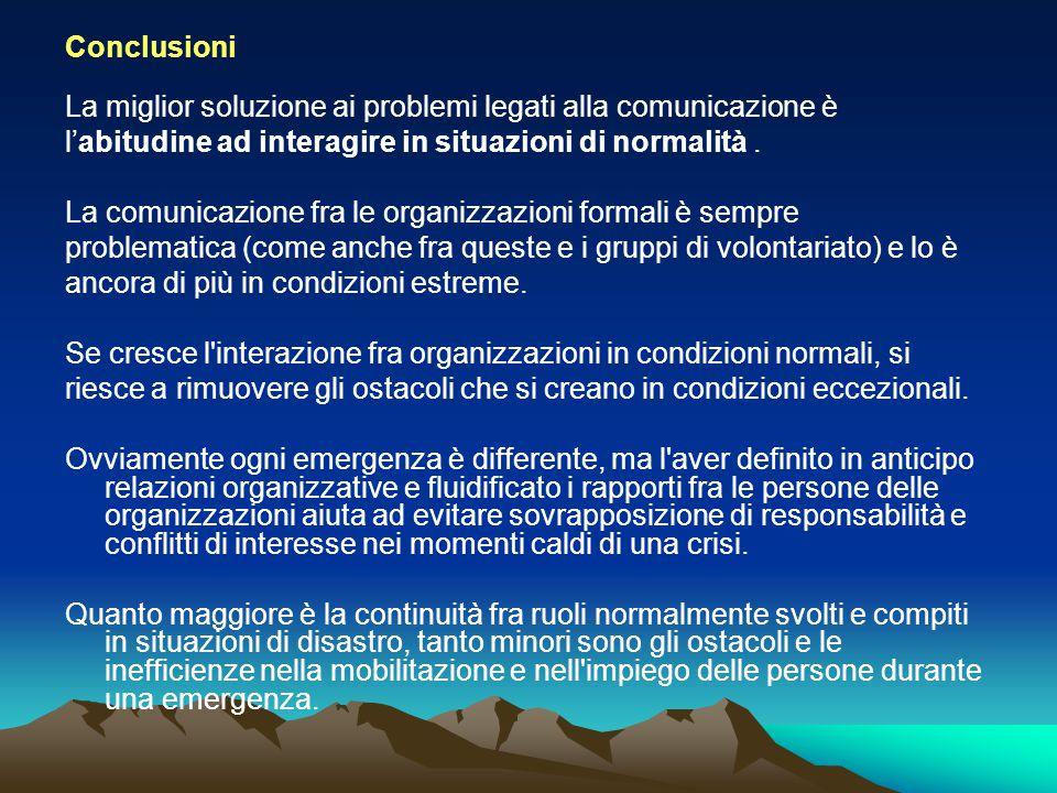 Conclusioni La miglior soluzione ai problemi legati alla comunicazione è. l'abitudine ad interagire in situazioni di normalità .