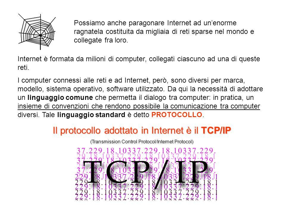 Il protocollo adottato in Internet è il TCP/IP