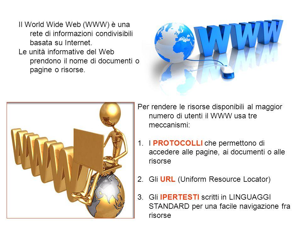Il World Wide Web (WWW) è una rete di informazioni condivisibili basata su Internet.