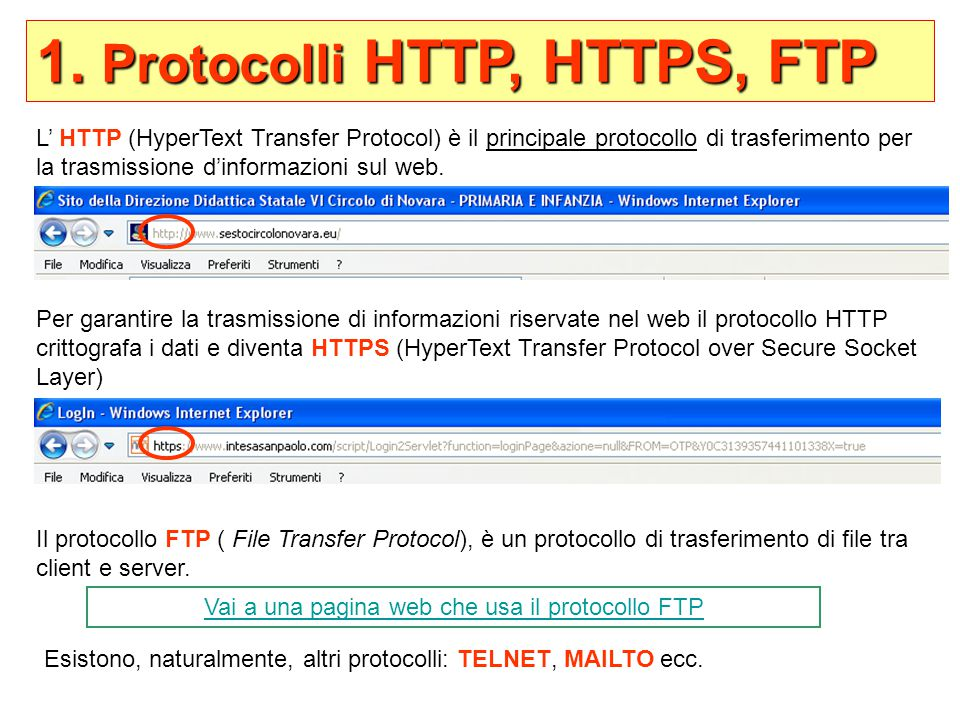 Vai a una pagina web che usa il protocollo FTP