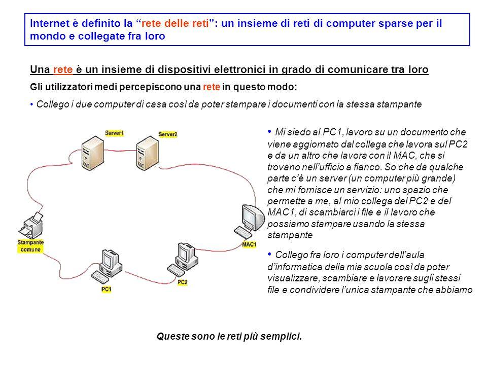 Internet è definito la rete delle reti : un insieme di reti di computer sparse per il mondo e collegate fra loro