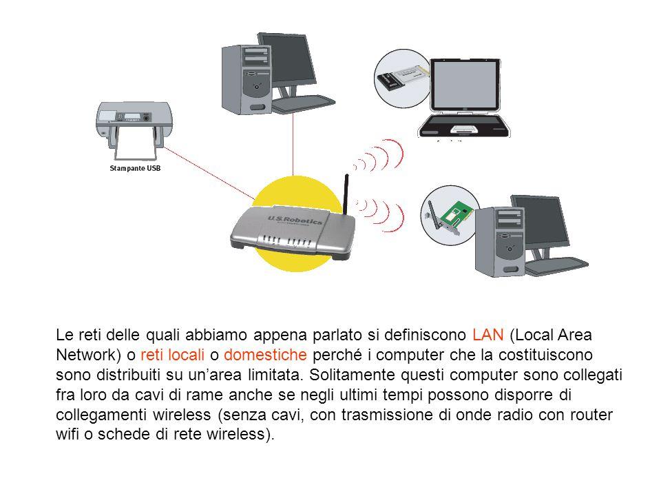 Le reti delle quali abbiamo appena parlato si definiscono LAN (Local Area Network) o reti locali o domestiche perché i computer che la costituiscono sono distribuiti su un'area limitata.