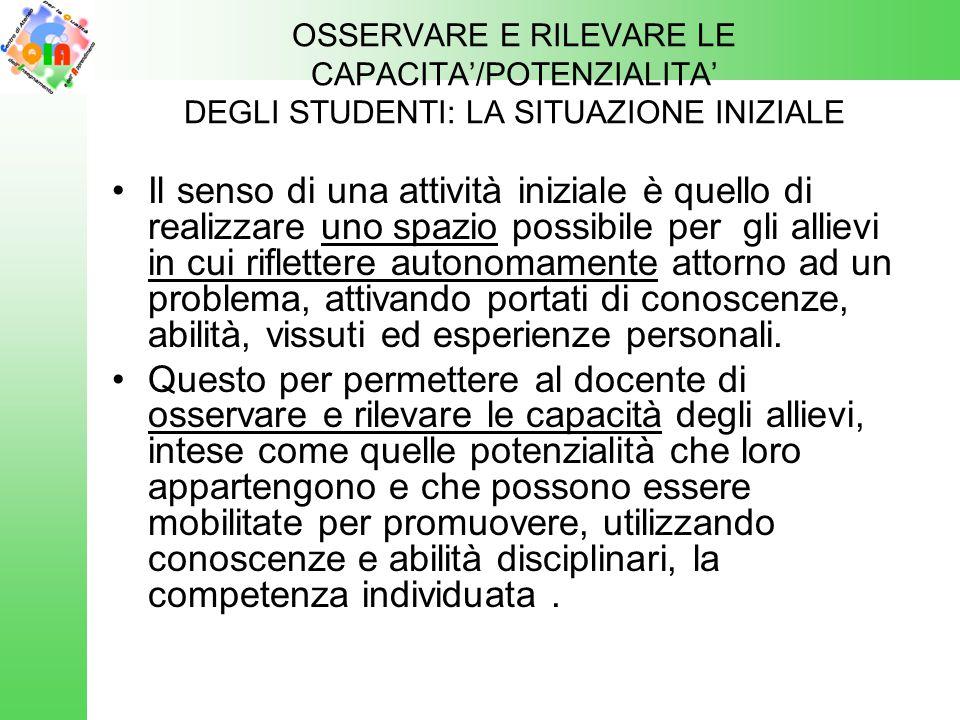 OSSERVARE E RILEVARE LE CAPACITA'/POTENZIALITA' DEGLI STUDENTI: LA SITUAZIONE INIZIALE