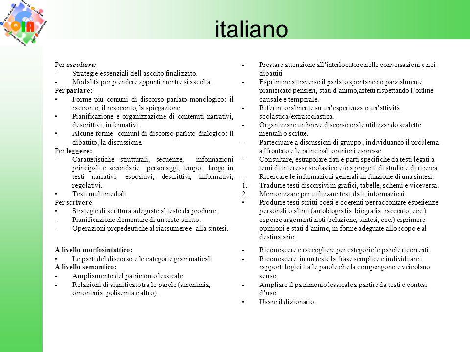 italiano Per ascoltare: Strategie essenziali dell'ascolto finalizzato.