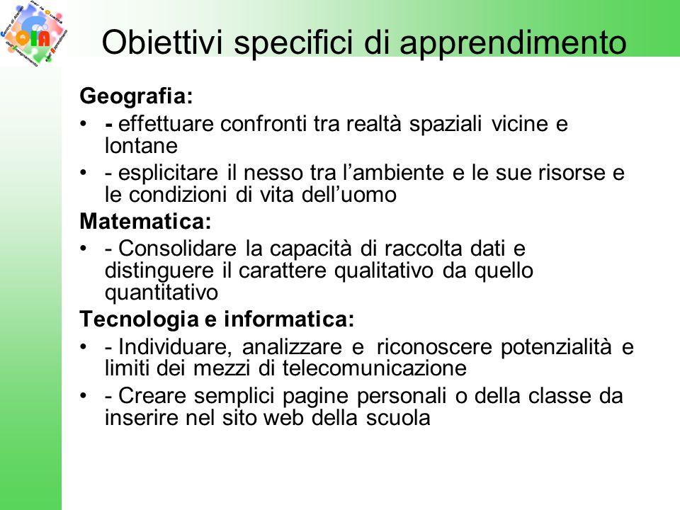 Obiettivi specifici di apprendimento
